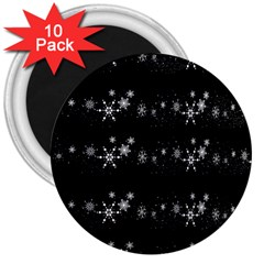 Black elegant  Xmas design 3  Magnets (10 pack)