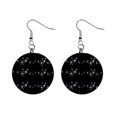 Black elegant  Xmas design Mini Button Earrings