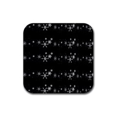 Black elegant  Xmas design Rubber Square Coaster (4 pack)