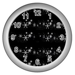 Black elegant  Xmas design Wall Clocks (Silver)