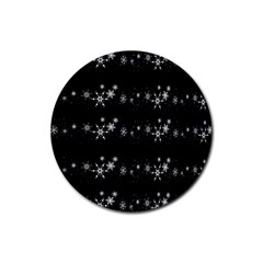 Black elegant  Xmas design Rubber Coaster (Round)