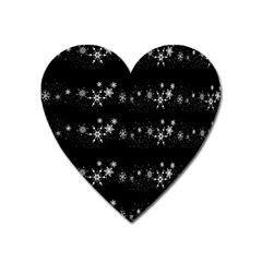 Black elegant  Xmas design Heart Magnet