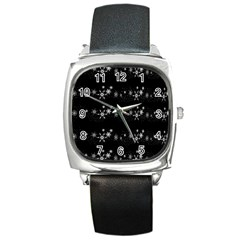 Black elegant  Xmas design Square Metal Watch