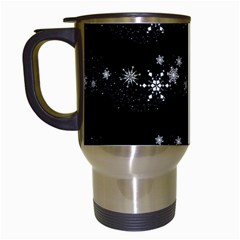 Black elegant  Xmas design Travel Mugs (White)