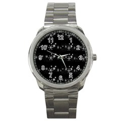 Black elegant  Xmas design Sport Metal Watch