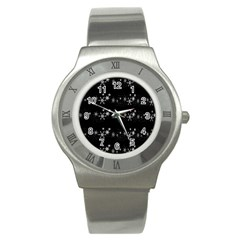 Black elegant  Xmas design Stainless Steel Watch