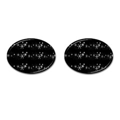 Black elegant  Xmas design Cufflinks (Oval)
