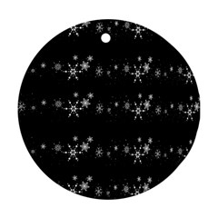 Black elegant  Xmas design Round Ornament (Two Sides)