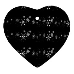 Black elegant  Xmas design Heart Ornament (2 Sides)