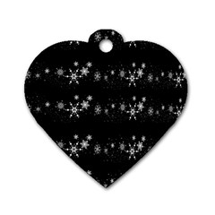Black elegant  Xmas design Dog Tag Heart (Two Sides)