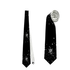 Black elegant  Xmas design Neckties (One Side)
