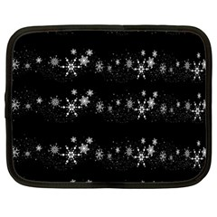 Black elegant  Xmas design Netbook Case (Large)