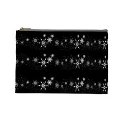 Black elegant  Xmas design Cosmetic Bag (Large)