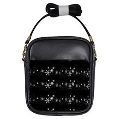 Black elegant  Xmas design Girls Sling Bags