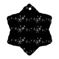 Black elegant  Xmas design Snowflake Ornament (2-Side)