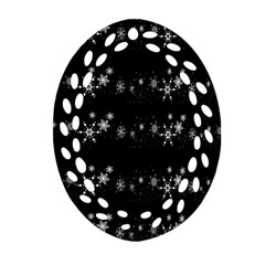 Black elegant  Xmas design Oval Filigree Ornament (2-Side)