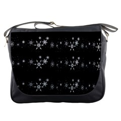 Black elegant  Xmas design Messenger Bags