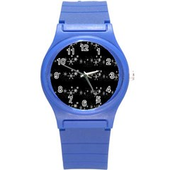 Black elegant  Xmas design Round Plastic Sport Watch (S)