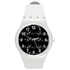 Black elegant  Xmas design Round Plastic Sport Watch (M)