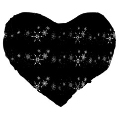 Black elegant  Xmas design Large 19  Premium Heart Shape Cushions