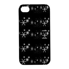 Black elegant  Xmas design Apple iPhone 4/4S Hardshell Case with Stand