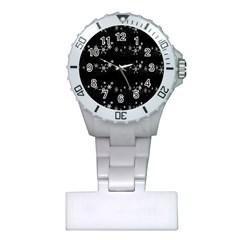 Black elegant  Xmas design Plastic Nurses Watch