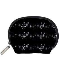 Black elegant  Xmas design Accessory Pouches (Small)