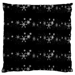 Black elegant  Xmas design Large Flano Cushion Case (Two Sides)
