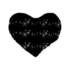 Black elegant  Xmas design Standard 16  Premium Flano Heart Shape Cushions
