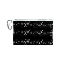 Black elegant  Xmas design Canvas Cosmetic Bag (S)