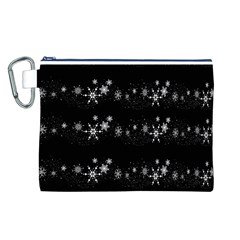 Black elegant  Xmas design Canvas Cosmetic Bag (L)