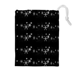 Black elegant  Xmas design Drawstring Pouches (Extra Large)