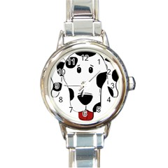 Dalmation cartoon head Round Italian Charm Watch