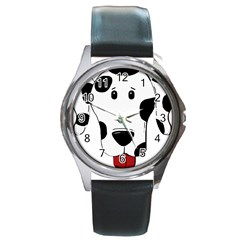 Dalmation cartoon head Round Metal Watch