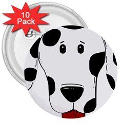 Dalmation cartoon head 3  Buttons (10 pack)