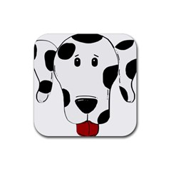 Dalmation cartoon head Rubber Coaster (Square)