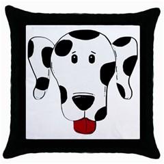 Dalmation cartoon head Throw Pillow Case (Black)