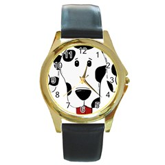 Dalmation cartoon head Round Gold Metal Watch