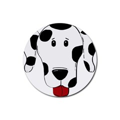 Dalmation cartoon head Rubber Coaster (Round)