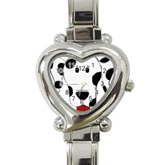 Dalmation cartoon head Heart Italian Charm Watch