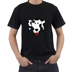 Dalmation cartoon head Men s T-Shirt (Black) (Two Sided)
