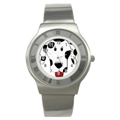 Dalmation cartoon head Stainless Steel Watch