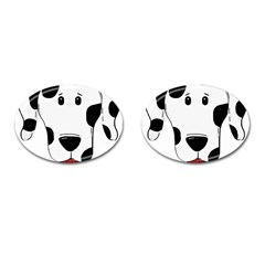 Dalmation cartoon head Cufflinks (Oval)