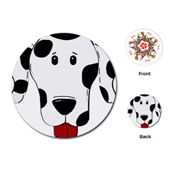 Dalmation cartoon head Playing Cards (Round)