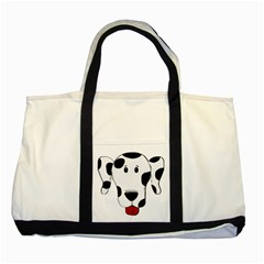 Dalmation cartoon head Two Tone Tote Bag