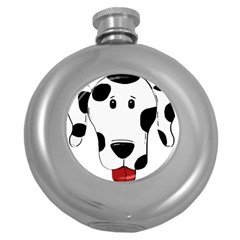 Dalmation cartoon head Round Hip Flask (5 oz)
