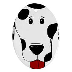 Dalmation cartoon head Oval Ornament (Two Sides)