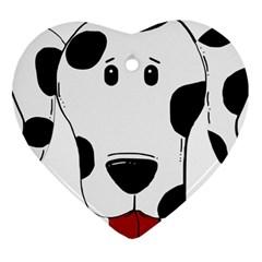 Dalmation cartoon head Heart Ornament (2 Sides)