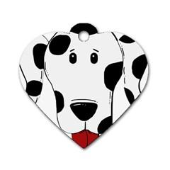 Dalmation cartoon head Dog Tag Heart (One Side)