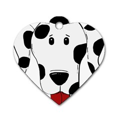 Dalmation cartoon head Dog Tag Heart (Two Sides)